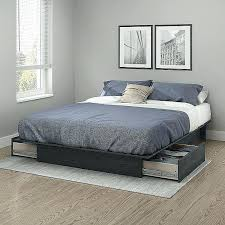 Bedroom Platform Bed No Box Spring Flat Platform Bed Frame Solid ...