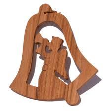 Holz Deko Anhänger Weihnachten Olivenholz Glocke Engel Mit Posaune 7cm