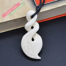 1pc woman necklace hawaii jewelry handmade carved new zealand maori infinity ox bone twisted pendant choker uni in pendant necklaces from