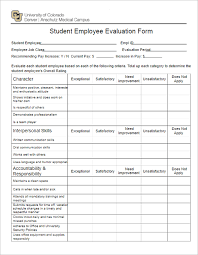Employee Evaulation Form Student Employee Evaluation Form