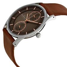 skagen holst charcoal dial brown leather strap mens watch skw6086 skw6086