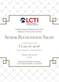 senior recognition night lehigh career technical institute srn 2016 invitation front screenshot