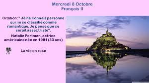 Mercredi 8 Octobre Français Iii Iv Citation Je Ne Connais