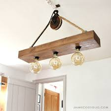 wood hanging light fixture with edison bulbs