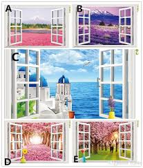 Small Picture Natural Scenery 3D Window Decal Home Decor Mediterranean Sea Wall
