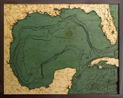 Vineyard Lake Depth Chart 3d Wood Map Art Of The Gulf Of Mexico Carved Lake Art