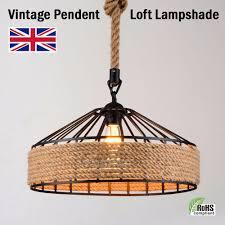 vintage industrial loft modern rope iron pendant ceiling light retro lamp hot uk