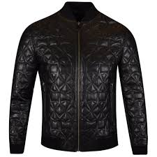 versace collection black leather star quilted jacket