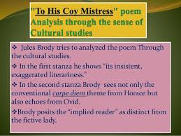 to his coy mistress poem analysis through the sense of cultural stu  3