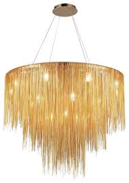 luxurious round gold linear chain chandelier lamp 60 w x 56 h