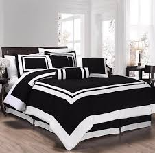 full queen cal king bed black white hotel stripe color block 7 pc comforter set