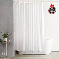 awekris fabric shower curtain liner solid hotel quality white polyester curtain waterproof imported shower curtain mold mildew resistant washable