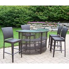 Oakland Living All Weather Wicker Half Round Patio Bar Set Walmartcom