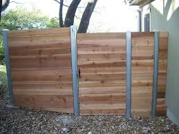 horizontal wood fence with metal posts. Beautiful Horizontal Custom Horizontal  Steel Posts Gate Area With Wood Fence Metal N