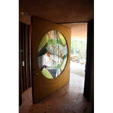 struckus house woodland hills los angeles the front door with a circular stained glass panel