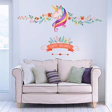 birthday gift flower unicorn wall stickers animal happy holiday colorful stickers for kids room window decor wall decalurals wall decals