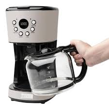 A programmable coffee maker will allow you to make coffee the night before and set it to begin so that. Haden Dorset Cotswold 12 Cup Putty Retro Style Coffee Maker Programmable With Strength Control And Timer 75028 The Home Depot