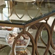standard furniture santa barbara hexagonal glass top end table w champagne metal base
