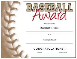Baseball Certificate Template Word Award Certificate Template