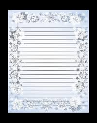 Printable Lined Paper With Snowflake Border Christmas Border Scrapbook Paper Writing Paper Template Instant Download