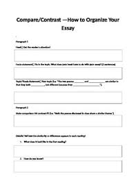 Compare Contrast Essay Compare And Contrast Essay Organizer Worksheets Teaching
