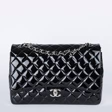 chanel maxi classic double flap black quilted patent leather