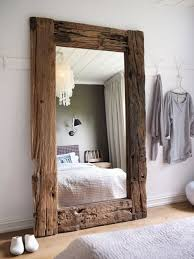 large rustic wood frame mirror - awesome ... this could be a feature that