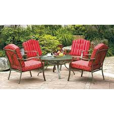mainstays lawson ridge 5 piece patio dining set red. buy lawson ridge 5-piece patio conversation set, red, seats 4 glass top table and four cushioned chairs. guaranteed. extra comfy sling chairs have mainstays 5 piece dining set red d