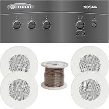 sound system kit. crown audio 135ma commercial mixer/amplifier and 4-speaker 1-zone sound system kit o