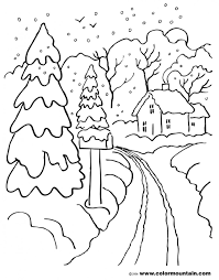 Winter Scene Coloring Pages Coloring Page For Kids | Kids Coloring