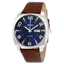seiko recraft automatic blue dial brown leather men s watch