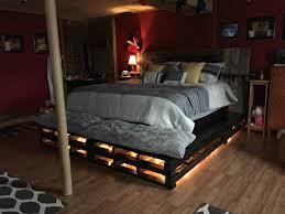 Bed Frame Made Of Pallets And Lights King Size Pallet Bed 1001 Pallets