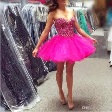 Colors Dress Size Chart Cheap Short Homecoming Dresses For Juniors 2018 Vintage Fuchsia Organza Ruffle Skirt A Line Prom Party Gowns With Crystals Fast Shipping