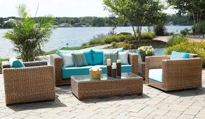 Patio, Amazing Brown Rectangle Modern Wooden Outdoor Wicker Patio Furniture  Sets Stained Design Ideas: ...