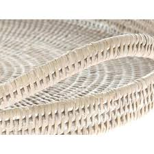 wicker serving tray la round rattan serving tray white wash round wicker serving trays