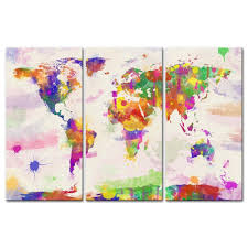 canvas print wall art paintings for home decor world color map in watercolour in hand painted style 3 pieces panel modern framed artwork pictures for living
