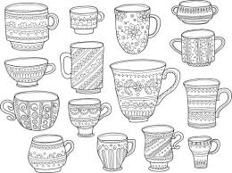 Coffee Cup Coloring Page تلوين Painting Doodle Coloring