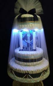 Designer Diaper Cakes Boys Iii Tier Light Up Diaper Cake On A Spinning Base By A