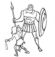 Depiction Of David Versus Goliath In The Bible Heroes Coloring Page