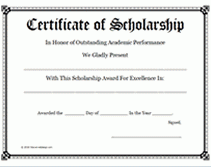 scholarship award certificate templates scholarship award certificate templates template business idea