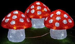 3 solar led acrylic mushrooms red white outdoor garden party lights