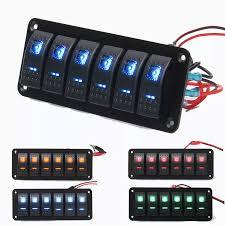 Caravan Light Switch 12v 24v 6 Gang Dual Led Light Bar Caravan Marine Boat Rv Rocker Switch Panel