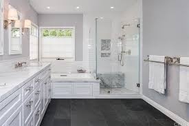 floor to ceiling subway tile bathroom. traditional master bathroom with montauk black slate tile, ms international, high ceiling, flush floor to ceiling subway tile l