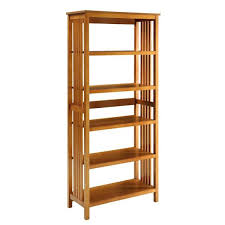 mission oak 5 shelf bookcase