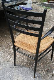 vintage italian ebonized rush seat chair gio ponti style