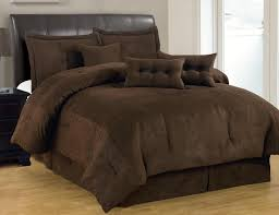 solid comforter sets queen 7 pc brown set micro suede size bed in a bag 6
