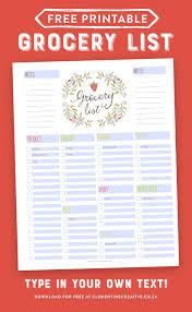 Grocery Checklist Free Editable Grocery List Printable Pdf