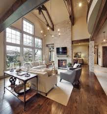 Great Room Rustic Great Room Reclaimed Wood Beams Wire Chandelier Natural