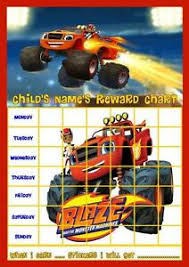 Details About Blaze And Monster Machines Personalised Reward Chart With Free Stickers And Pen