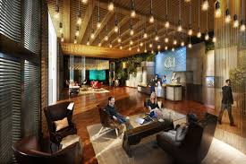 Interior:Simple Modern Office Lobby Decor With Cool Ceiling Light Ideas  Delightful Guesthouse Lobby With